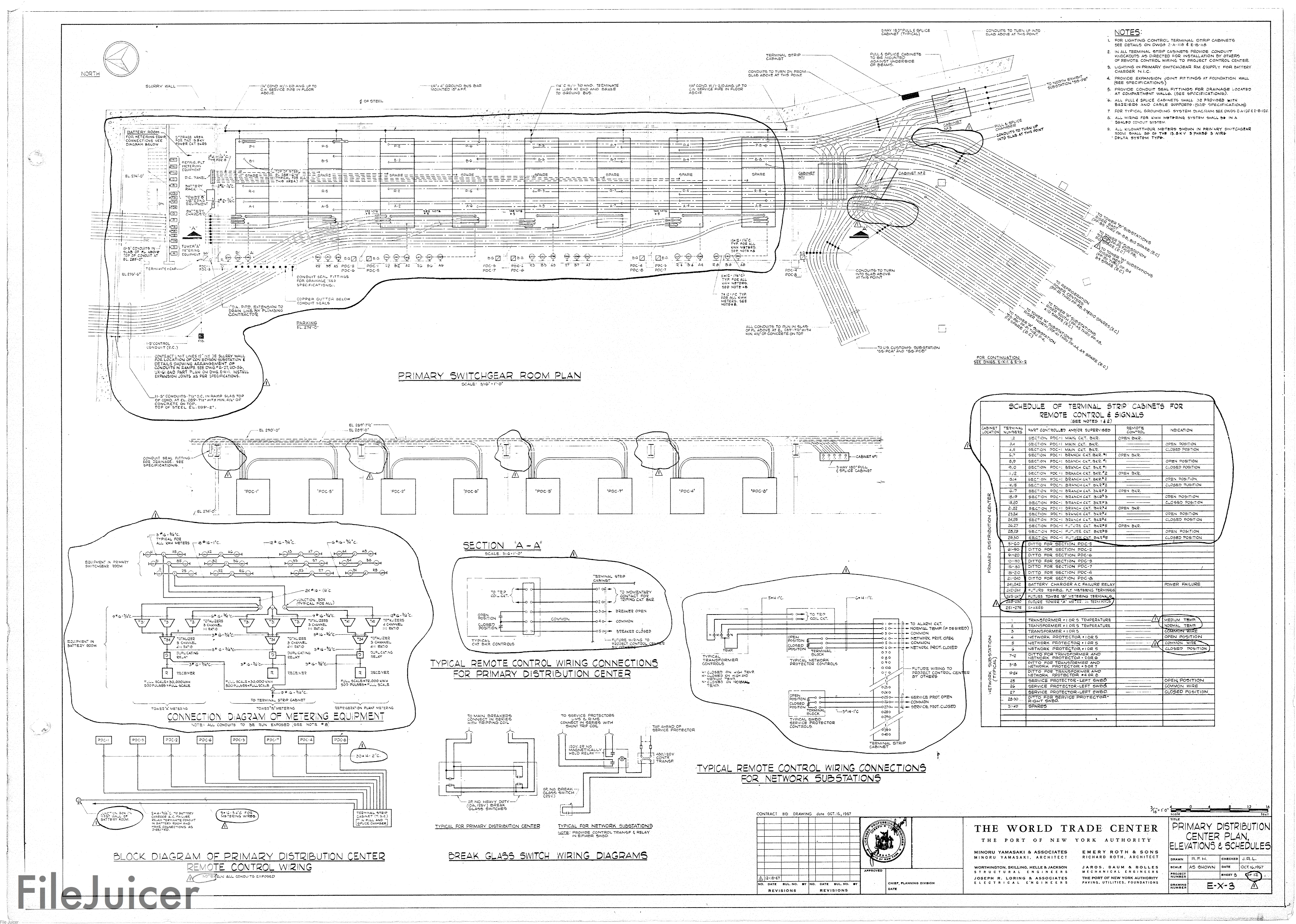 North Tower Blueprints Wiring Diagram Control Dwgs Table Of World Trade Center A Electrical Drawings