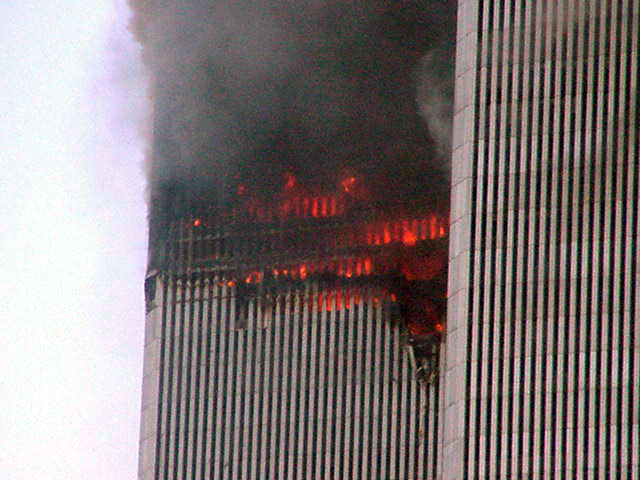 how to draw the twin towers on fire