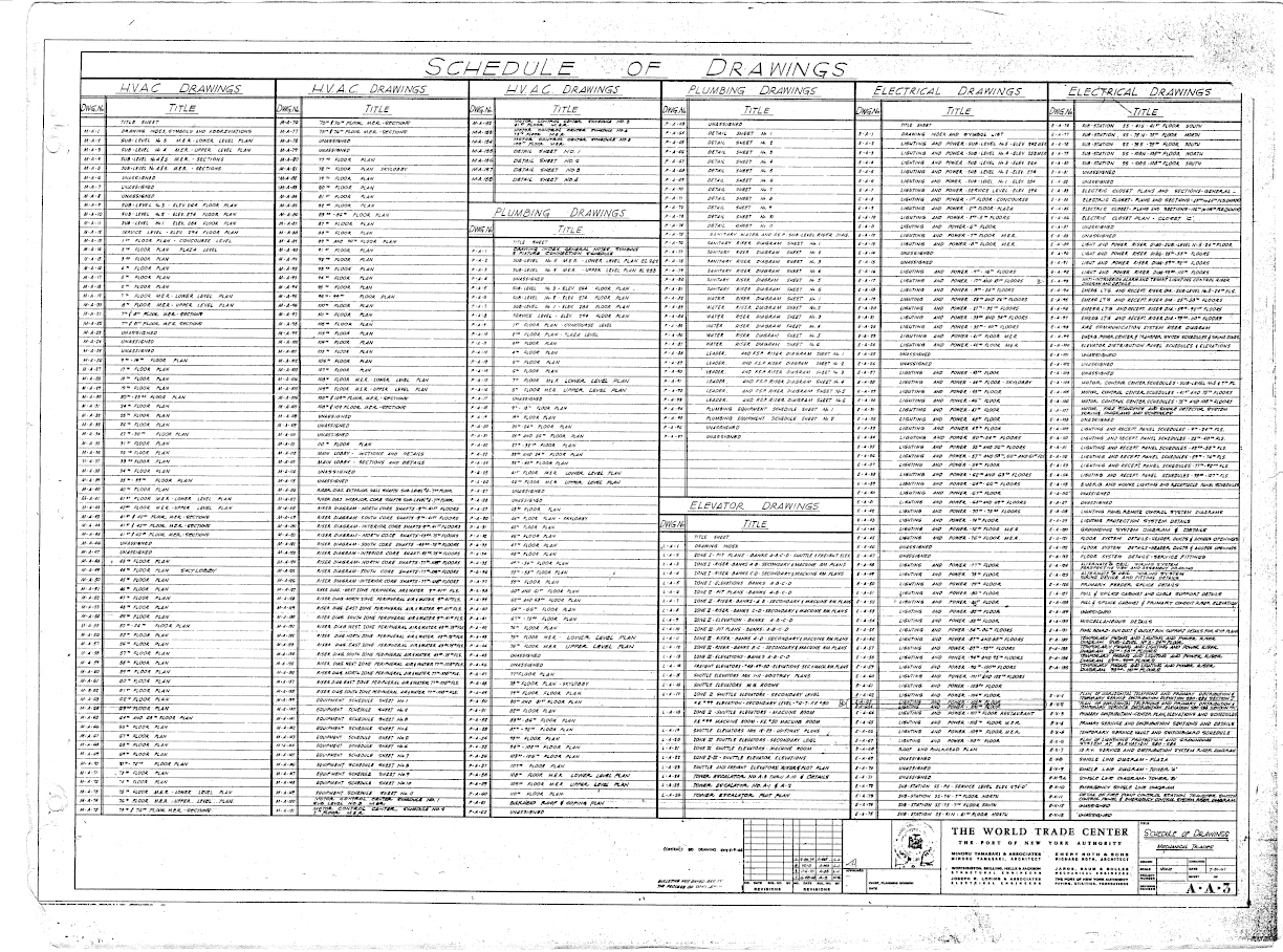 North Tower Blueprints Hvac Drawing Key Schedule Of Drawings Mechanical Trades 612x454