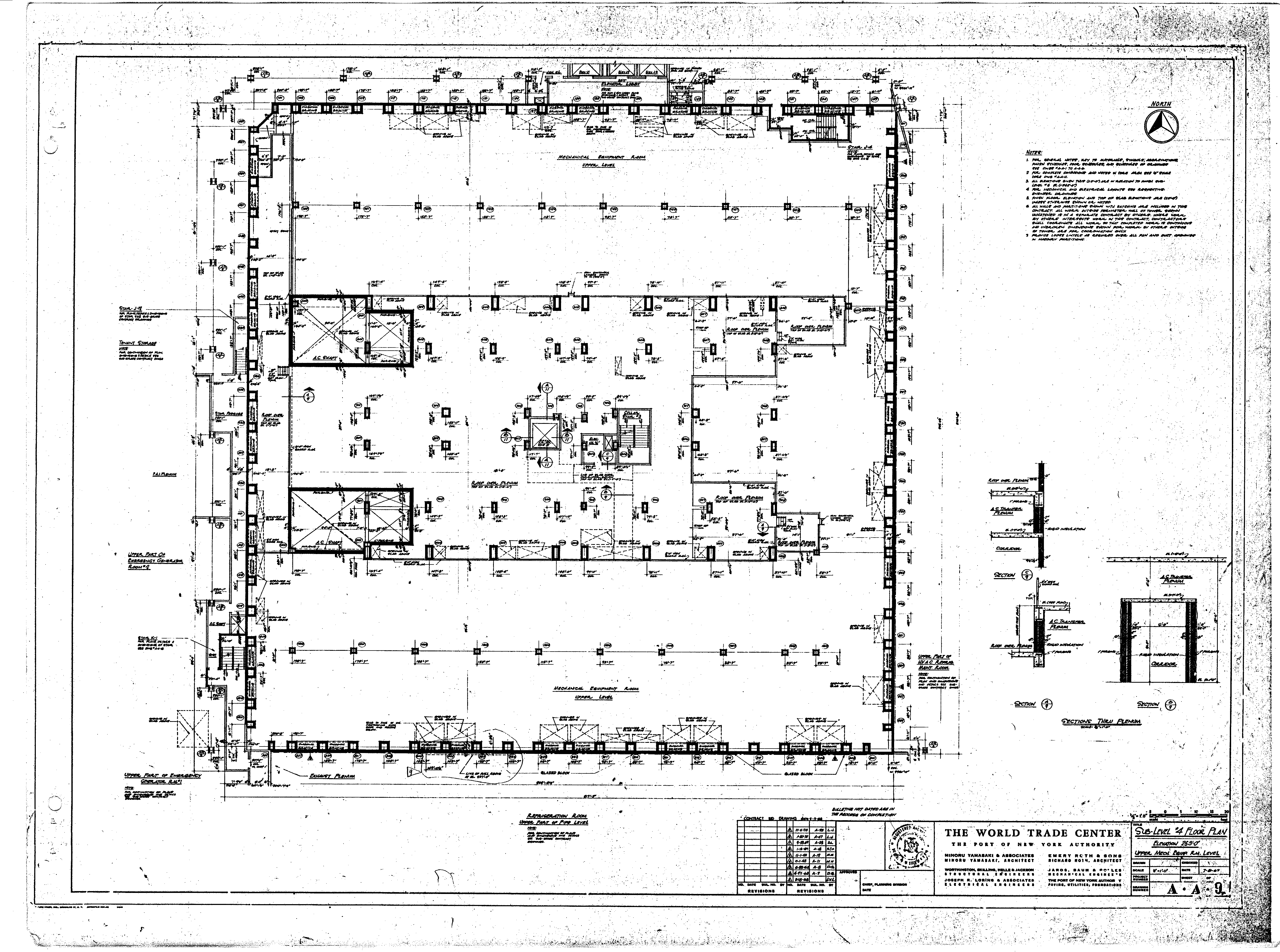 North tower blueprints table of world trade center tower a architectural drawings malvernweather Gallery