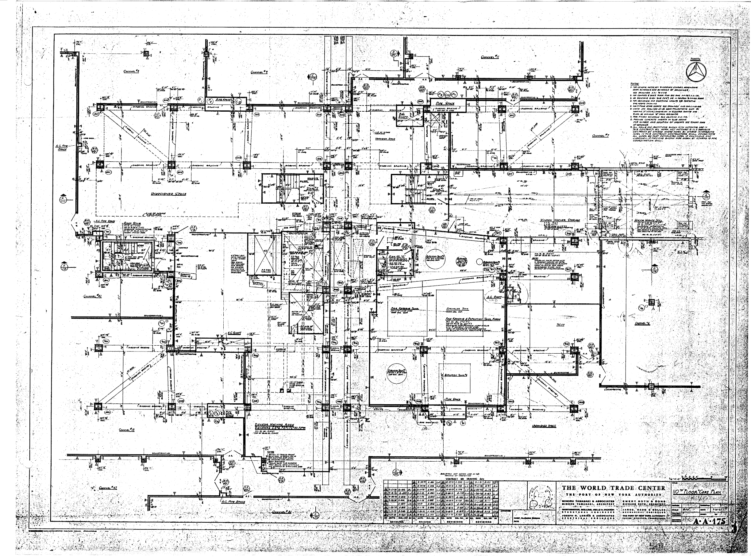 North tower blueprints table of world trade center tower a architectural drawings malvernweather Image collections